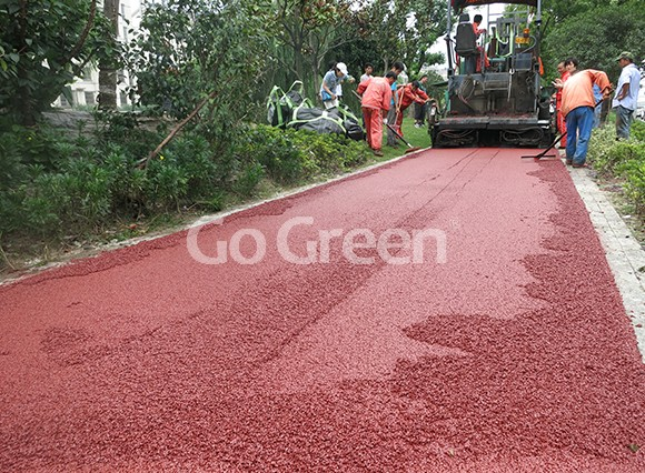 Proyecto de asfalto de color rojo en kunshan