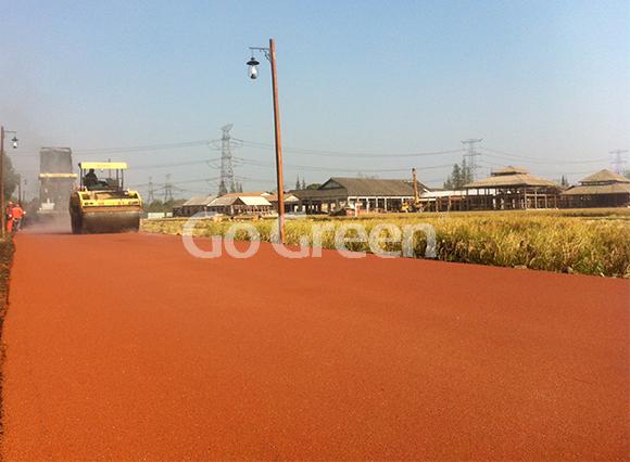 Proyecto de asfalto de color naranja en caliente en Zhejiang