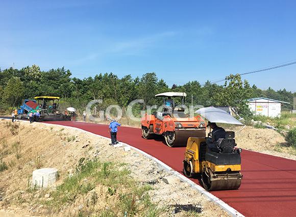 Proyecto de asfalto de color Red Hot Mix en la ciudad de Huangshi