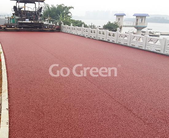 Asfalto poroso en la orilla de Guangxi