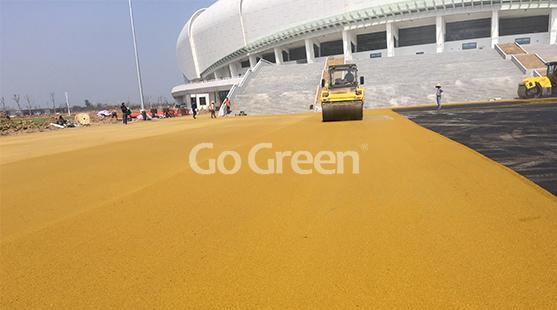 Asfalto de color amarillo y verde en la sala de exposiciones de Jiangsu
