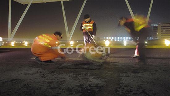 Asfalto de mezcla fría en el aeropuerto internacional de Pudong